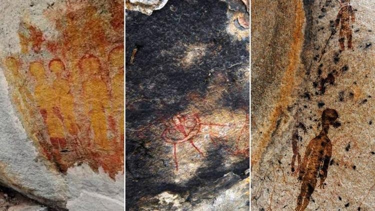 Algunos de los dibujos en las cavernas de Chhattisgarh (The Indian Times)