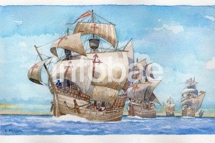 Cinco carabelas integraban la expedición de Fernando de Magallanes. Sólo una, la nao Victoria, regresará a Sevilla tras dar la vuelta al mundo (Ilustración: Enrique Breccia)