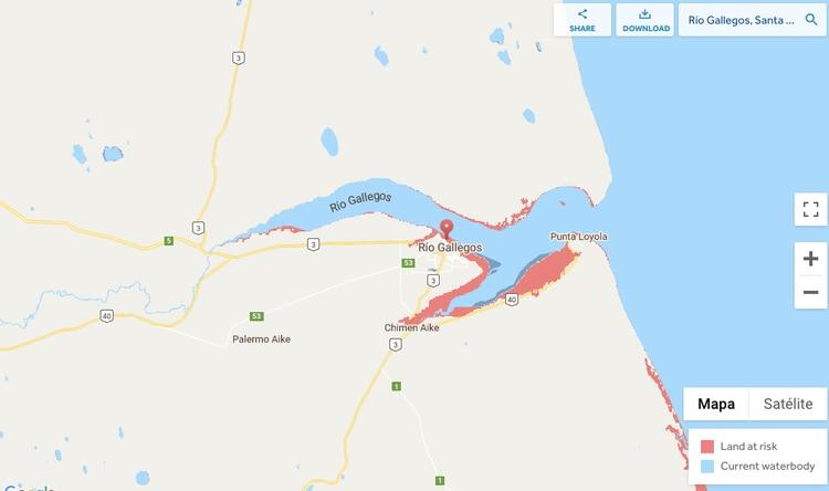 La imagen de las zonas de riesgo en la provincia de Santa Cruz