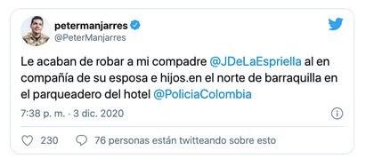 Peter Manjarrés denunció el robo del acordeonista Juancho De la Espriella en Barranquilla / (Twitter: @PeterManjarres).