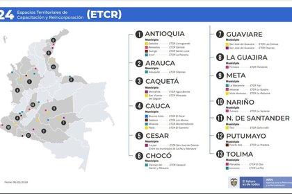 Espacios Territoriales de Capacitación y Reincorporación (ETCR) Gráfica: Agencia para la Reincorporación y Normalización (ARN)
