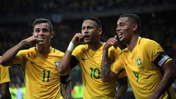 Neymar, Philippe Coutinho y Gabriel Jesus (AFP)