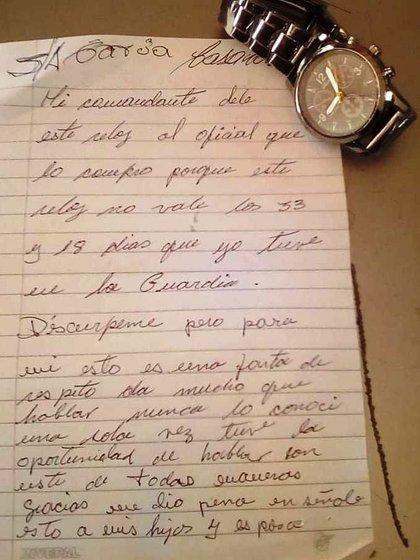 La carta de protesta del Sargento Ayudante García Casanova