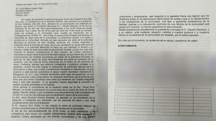 Personal médico de Oaxaca denuncia ser víctimas de actos discriminatorios (Fotos: Twitter @rioaxaca)