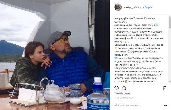 Una de las publicaciones que Deripaska quiere que sea borrada: en su yate junto a la prostituta Nastya Rybka