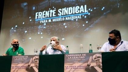 Hugo Moyano y el frente sindical que lidera, en la previa a la Caravana de la Lealtad.