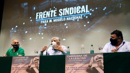 Hugo Moyano durante una conferencia de prensa en la  sede de SMATA. (Foto NA)
