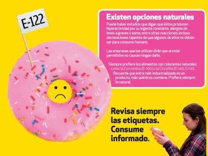 En lugar de consumir productos con este tipo de ingredientes, la Profeco recomendó localizar aquellos alimentos con colorantes naturales (Foto: Revista del Consumidor octubre 2020)