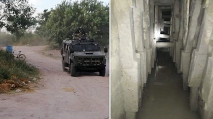 El pasadizo fronterizo resguardaba en su interior cargadores de diferentes calibres  (Foto: Twitter/Tamaulipasrtc1)