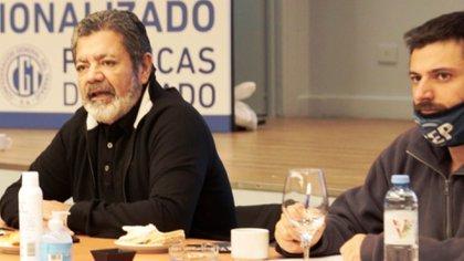 Gerardo Martínez, de la UOCRA, y Juan Grabois, en un encuentro del Plan de Desarrollo Humano Integral