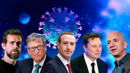 La controversia en torno del coronavirus enfrentó a algunos de los integrantes del club de hombres más ricos del mundo, como Bill Gates (Microsoft), Elon Musk (Tesla y SpaceX), Mark Zuckerberg (Facebook), Jeff Bezos (Amazon) y Jack Dorsey (Twitter)