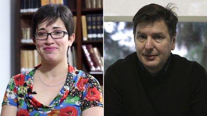 Georgina Gluzman, curadora de la muestra, y Andrés Duprat, director del Bellas Artes