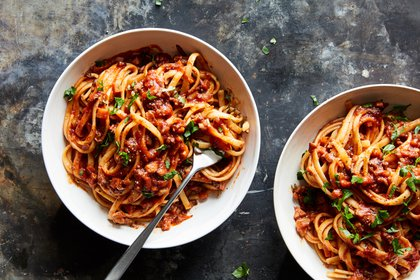 Vegan bolognese with mushrooms and walnuts, in New York, Feb. 16, 2021. This vegan take on hearty tomato sauce tastes as rich as the original and satisfies comfort-food cravings. Food styled by Monica Pierini. (Linda Xiao/The New York Times)