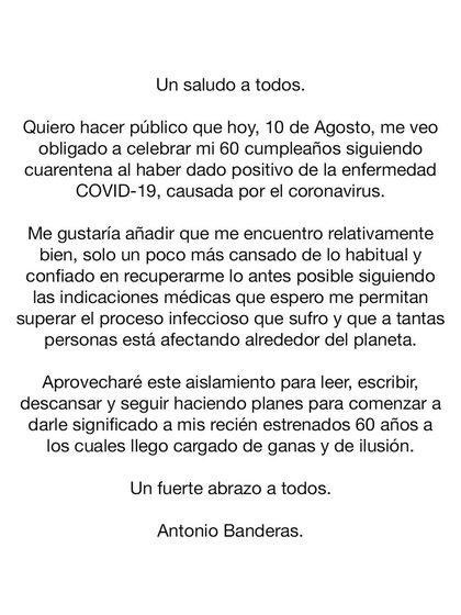 El mensaje de Antonio Banderas