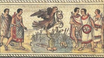 La leyenda cuenta que el dios Hutzilopochtli les indicó a los mexicas que el lugar destinado para ellos se encontraba donde vieran un águila devorando una serpiente sobre un nopal Foto: (Twitter@Cuauhtemoc_1521)