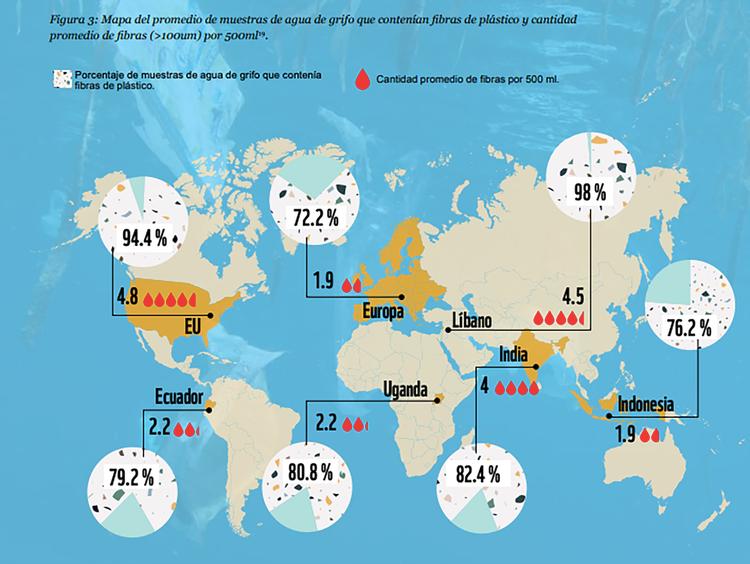 Mapa del promedio de muestras de agua de la canilla que contienen microplásticos