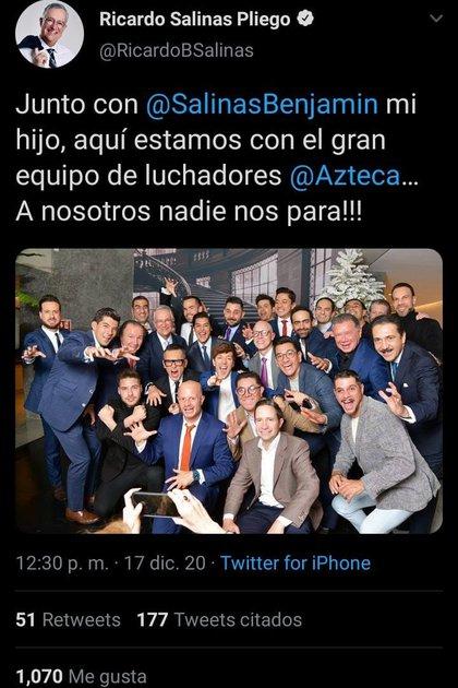 Ricardo Salinas Pliego organizó fiesta en Twitter  (Foto: Twitter)