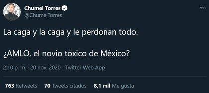 Es usual que el YouTuber se lance encríticas contra el actual gobienro mexciano (Foto: Twitter@ChumelTorres)