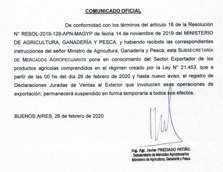 El comunicado oficial que anunció el cierre del registro