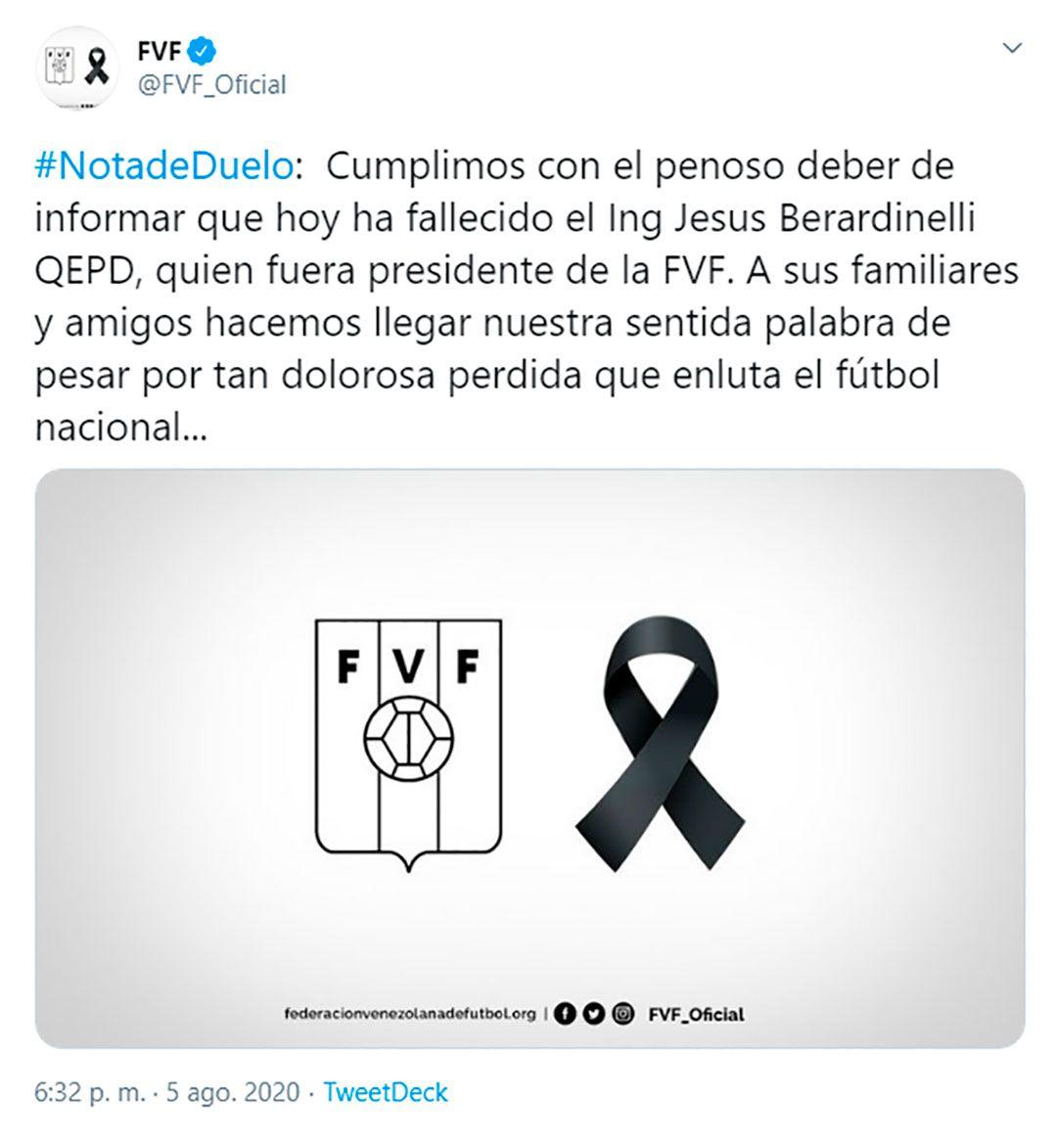 Federacion venezolana de fútbol jesus berardinelli