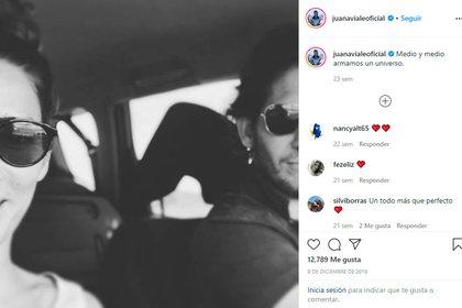 Juana Viale y la imagen que subió junto a su novio (Foto: Instagram)