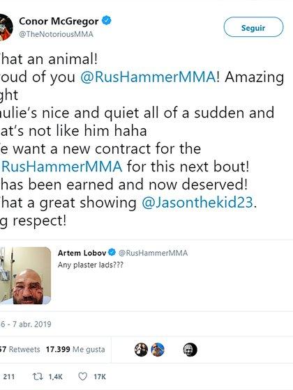 La felicitación de Conor McGregor a Artem Lobov tras su pelea de boxeo sin guantes