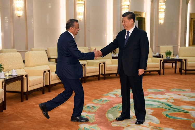 Tedros Adhanom, director general de la Organización Mundial de la Salud (OMS), se da la mano con el presidente del régimen chino Xi jinping antes de una reunión en el Gran Salón del Pueblo en Beijing, China, 28 de enero pasado (Reuters)