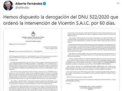 El tuit con el que Alberto Fernández anunció la derogación del decreto de intervención de Vicentin