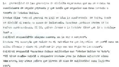 Párrafo de la síntesis de la reunión de generales con Galtieri