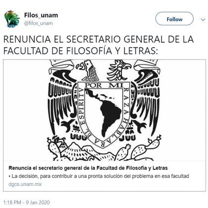 La renuncia del secretario Ricardo Alberto García Arteaga (Foto: Twitter)