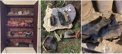 Se encontraron muñecas, ropa, libros, zapatos antiguos, frascos de perfume, medicinas e incluso veneno.  Foto: (Instagram plaus.uchaf)