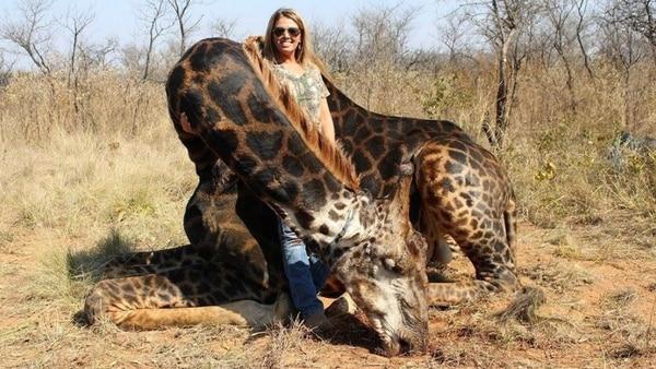 Tess Thompson Talley junto a la jirafa que asesinó hace un año. Las imágenes fueron viralizadas por Africa Digest