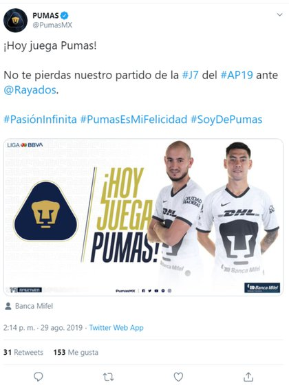 Pumas pidió apoyo a sus seguidores en redes sociales (Foto: Captura de pantalla de Twitter)