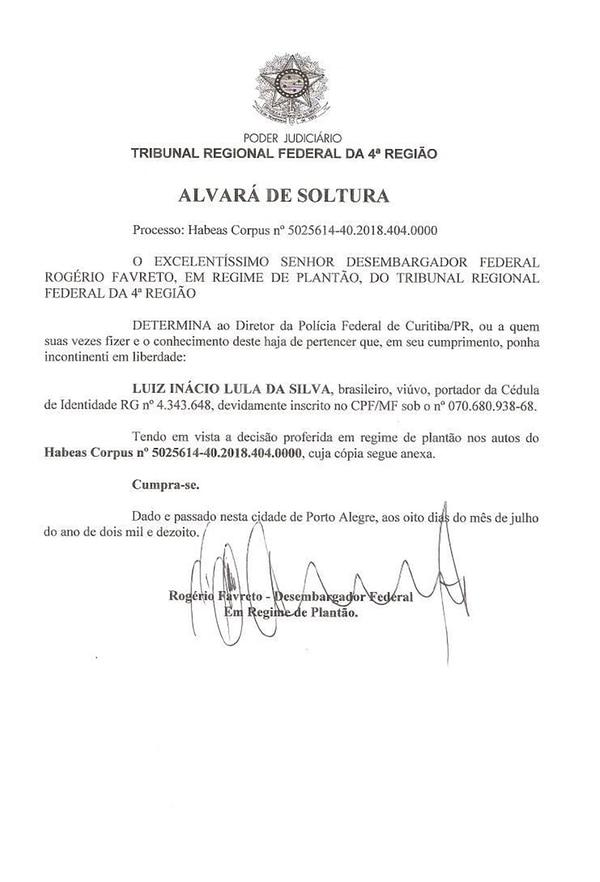 La orden de liberación firmada por el juez Rogério Favreto