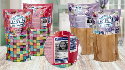 Ejemplos de paquetes de productos con información y el logo de Ecovita en solo la mitad del producto, para que la mitad restante sea reutilizada después
