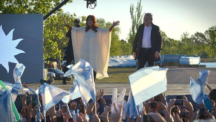 Cristina Kirchner y Alberto Fernández, la semana pasada en La Pampa (Foto: Gustavo Gavotti)