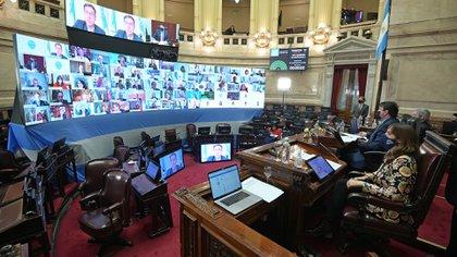 Sesión virtual y presencial en el Senado en tiempos de cuarentena (Charly Diaz Azcue / Comunicación Senado)