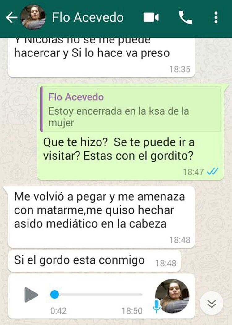 Los mensajes en los que Fátima Florencia Acevedo le contaba a su amiga sobre las agresiones de Nicolás Martínez