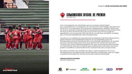 Patriotas solicita aplazar el inicio de los playoffs de la liga BetPlay 2020 / (Twitter: @patriotasboySA).