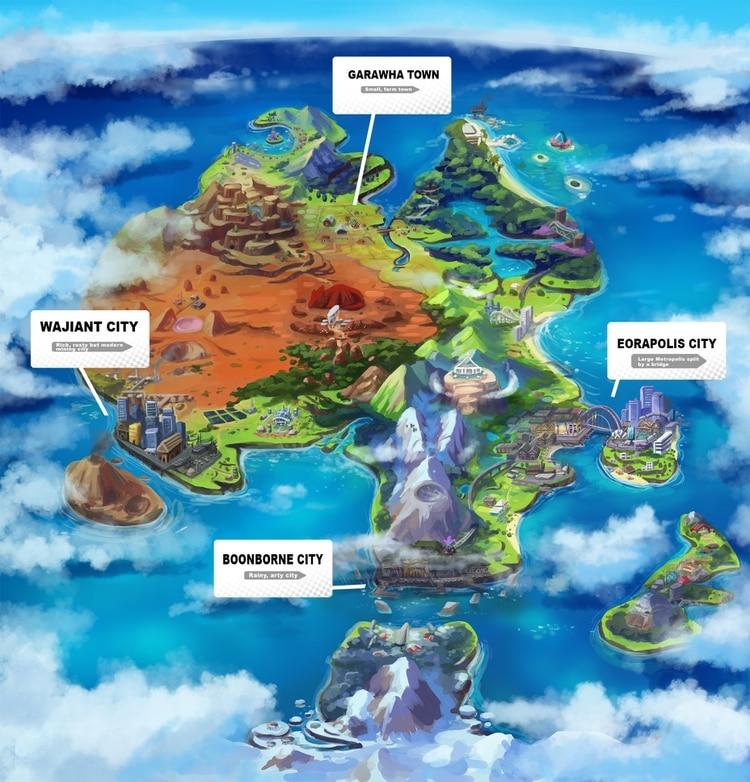 Mapa de la región Straya de Pokemon Yeah & Nah (Twitter: @VivinkArt)