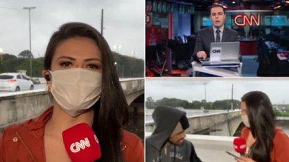 La periodista Bruna Macedo y el conductor de la CNN Brasil, Rafael Colombo estaban en vivo cuando la comunicadora fue víctima de un robo