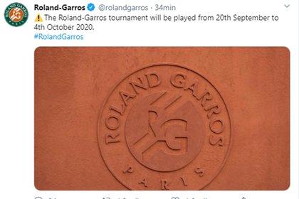 La publicación de Roland Garros en su cuenta de Twitter