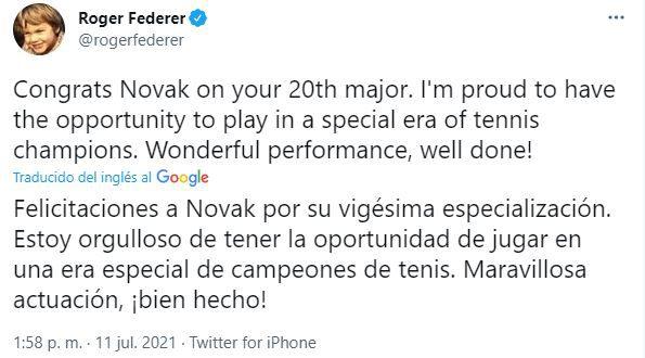 tuits Federer y Nadal para Djokovic