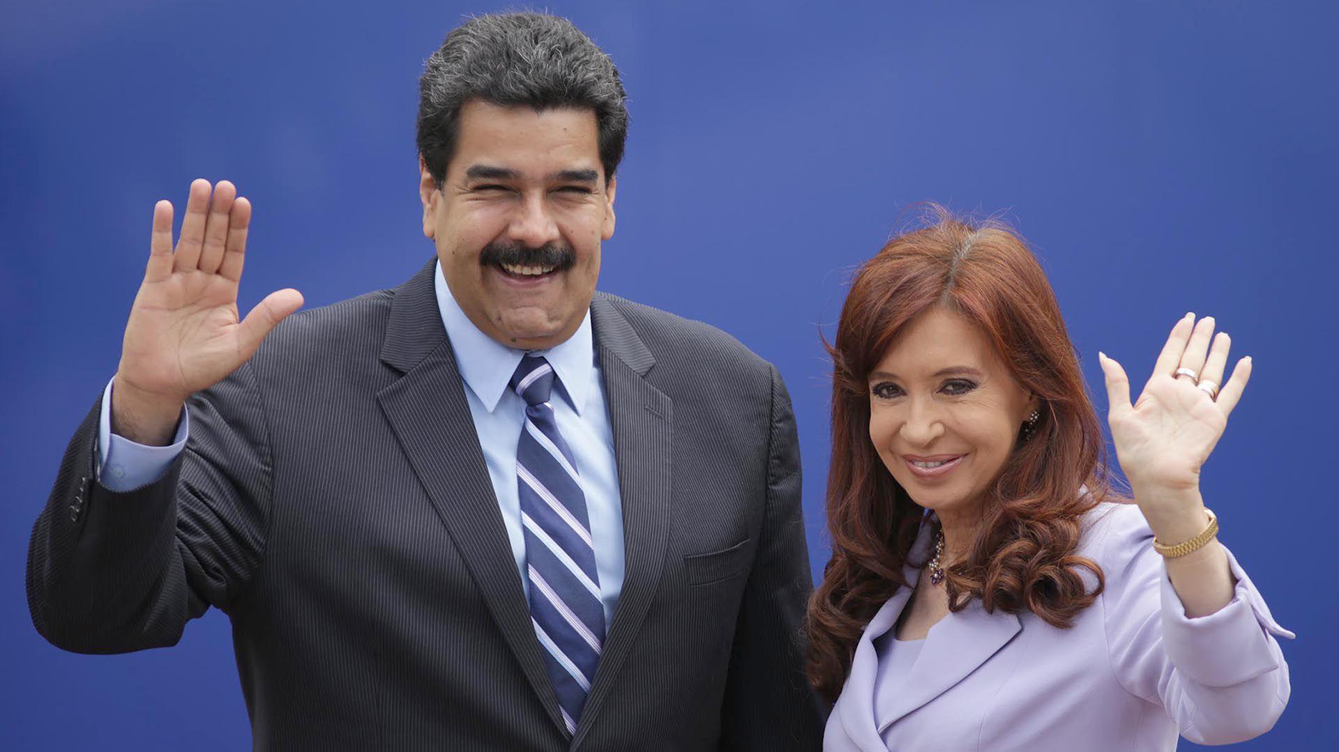 Viejos socios… Maduro y CFK (Foto: NA)