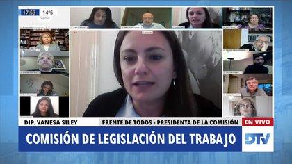 La diputada Vanesa Siley, diputada del Frente de Todos, en la reunión de la Comisión de Legislación del Trabajo