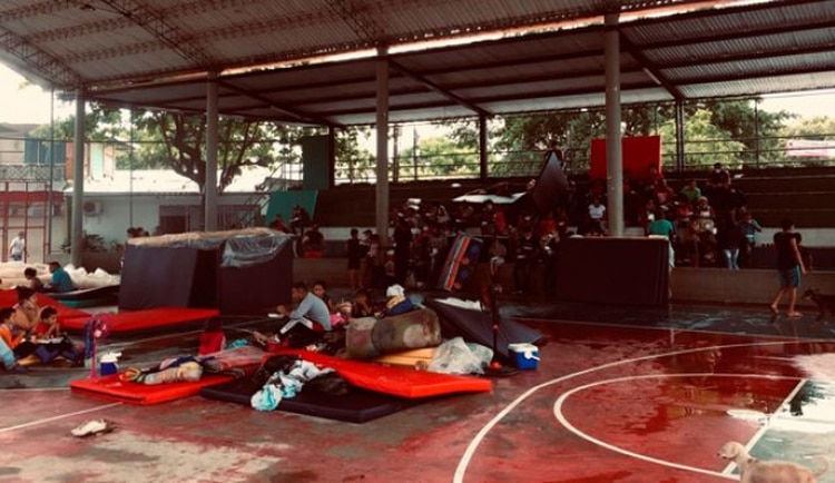 Cientos de venezolanos fueron albergados en un coliseo de Puerto Santander (Norte de Santander) después de que circulara un audio amenazante que los obligó a cruzar nuevamente la frontera. (Tomada de Twitter)