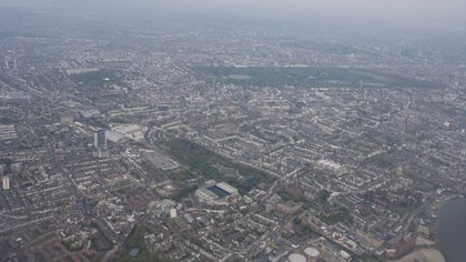 La vista aérea del actual estadio del Chelsea: allí se construirá el nuevo (Getty)