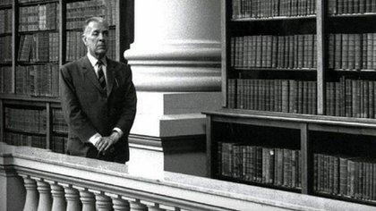 Jorge Luis Borges en la Biblioteca Nacional