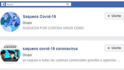 Grupos de saqueo en Facebook (Foto: Facebook)