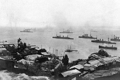La Escuadra de Asia Oriental alemana en Valparaíso, Chile (Naval History and Heritage Command)